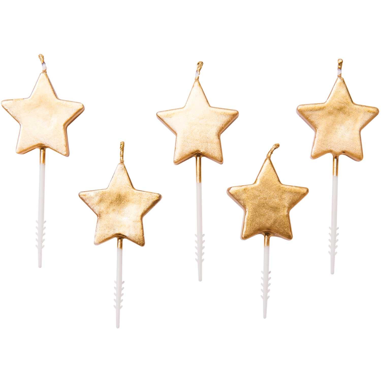 5 bougies étoiles dorées