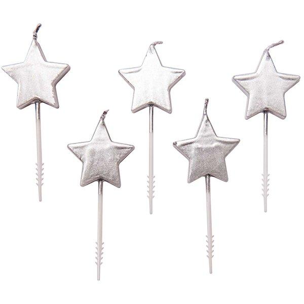 5 bougies étoiles argentées