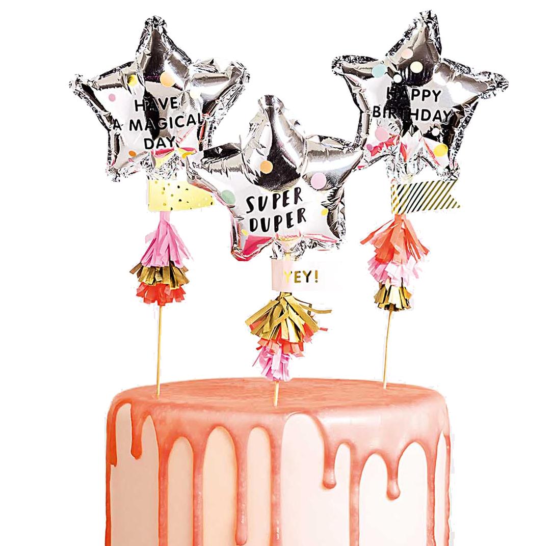 3 Cake topper ballons étoile à personnaliser