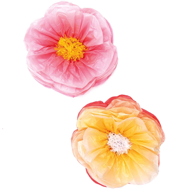 2 grandes fleurs rose et jaune en papier - 40 cm