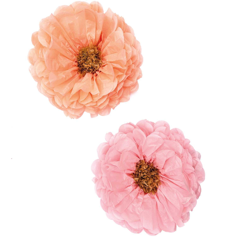 2 grandes fleurs rose et pêche en papier - 40 cm