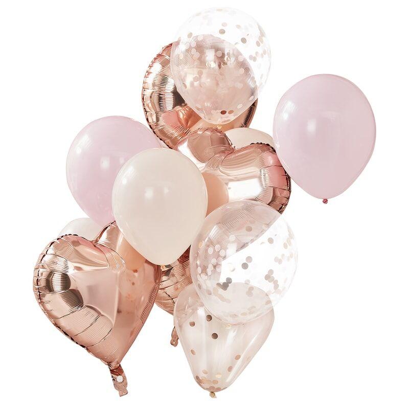 12 ballons rose et coeur