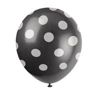 6 ballons noir à pois blanc latex