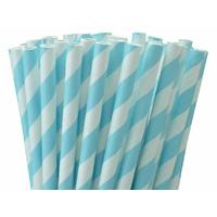 25 pailles papier à rayures bleu clair