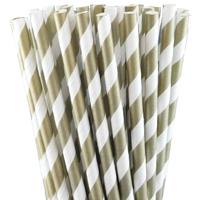 25 pailles rétro à rayures dorées