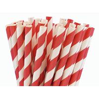 25 pailles papier à rayures rouge