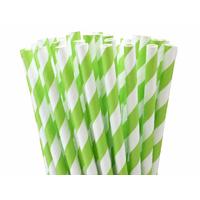 25 pailles papier à rayures vertes