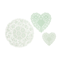 30 napperons papier dentelle vert menthe