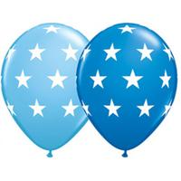 25 ballons bleus à étoiles latex