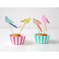 Kit 24 caissettes cupcake et toppers oiseaux