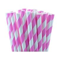 25 pailles rétro à rayures rose vif
