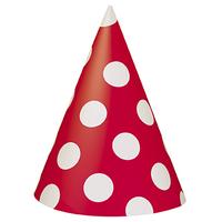 8 Chapeaux pointus à pois enfant