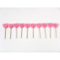 10 Bougies coeur rose à paillettes