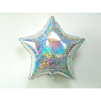 Ballon mylar étoile holographique argent