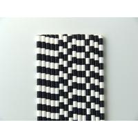 25 Pailles papier rayé noir