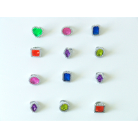 24 bagues pierres précieuses plastique
