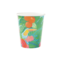 12 gobelets carton motif tropical