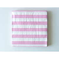 20 serviettes jetables rayures rose clair