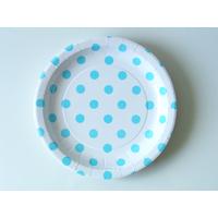 12 assiettes carton dessert à pois bleus