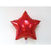 Ballon mylar étoile holographique rouge