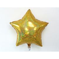 Ballon mylar étoile holographique doré
