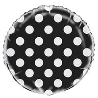 Ballon mylar noir à pois blanc