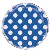 Ballon mylar bleu roi à pois blanc