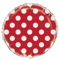 Ballon mylar rouge à pois blanc