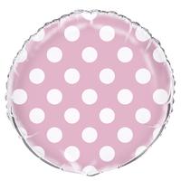 Ballon mylar rose clair à pois blanc