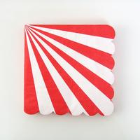 20 serviettes papier rayures rouge