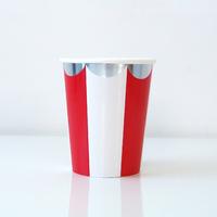 8 gobelets carton rayures rouge