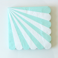 20 serviettes jetables en papier rayures vert menthe