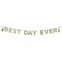 Guirlande lettres Best Day Ever à paillettes dorées