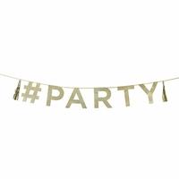 Guirlande lettres #Party à paillettes dorées