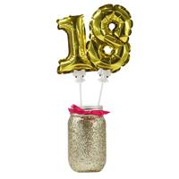 12 toppers ballon mylar chiffre doré