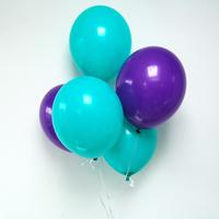 12 ballons latex violet et aqua