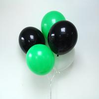 12 ballons latex noir, vert et blanc