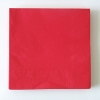 20 serviettes unies rouge