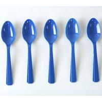 10 petites cuillères en plastique bleu marine