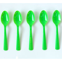 10 petites cuillères en plastique vert