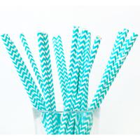 25 pailles en papier chevrons bleu tiffany