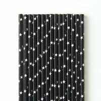 25 pailles papier noir à étoiles