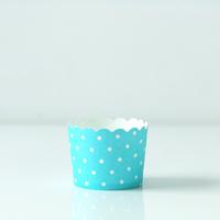 12 caissettes à cupcakes bleu clair à pois