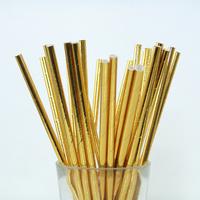 25 pailles papier métallisé uni doré