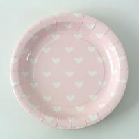 12 assiettes dessert cœur - rose clair
