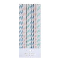 24 pailles en papier assortiment pastel