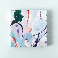 20 serviettes marbrées multicolores