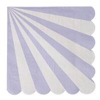 20 serviettes rayures mauve