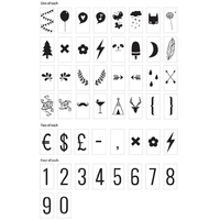 85 nombres et symboles noirs pour lightbox