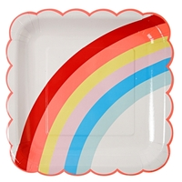12 assiettes carton arc-en-ciel